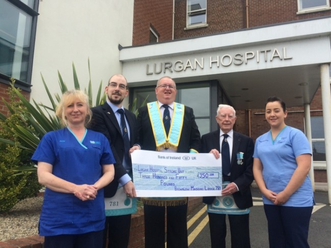 Brownlow Masonic Lodge makes donation to Lurgan Stroke Unit