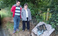 Memorial to William Clarke outside Mullaghbawn Smashed